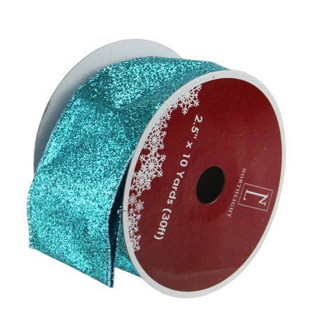 Pack of 12 Shimmering Teal Solid Wired Christmas Craft Ribbon Spools - 2.5