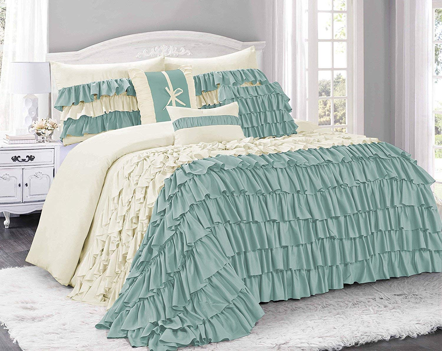 7 piece brise double color ruffled clearance bedding