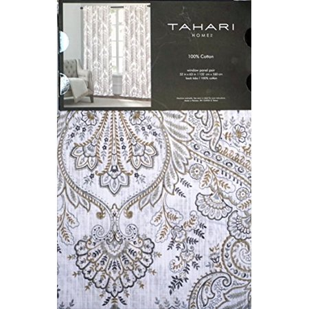 Tahari Window Panels Draperies Curtains Set of 2 Gray Taupe Light Brown Floral Medallion Pattern on White 52 Inches by 63 Inches