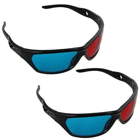 2 Pack Black Frame Red Blue 3D Glasses For Dimensional Anaglyph Movie Game DVD - 3 D Glasses