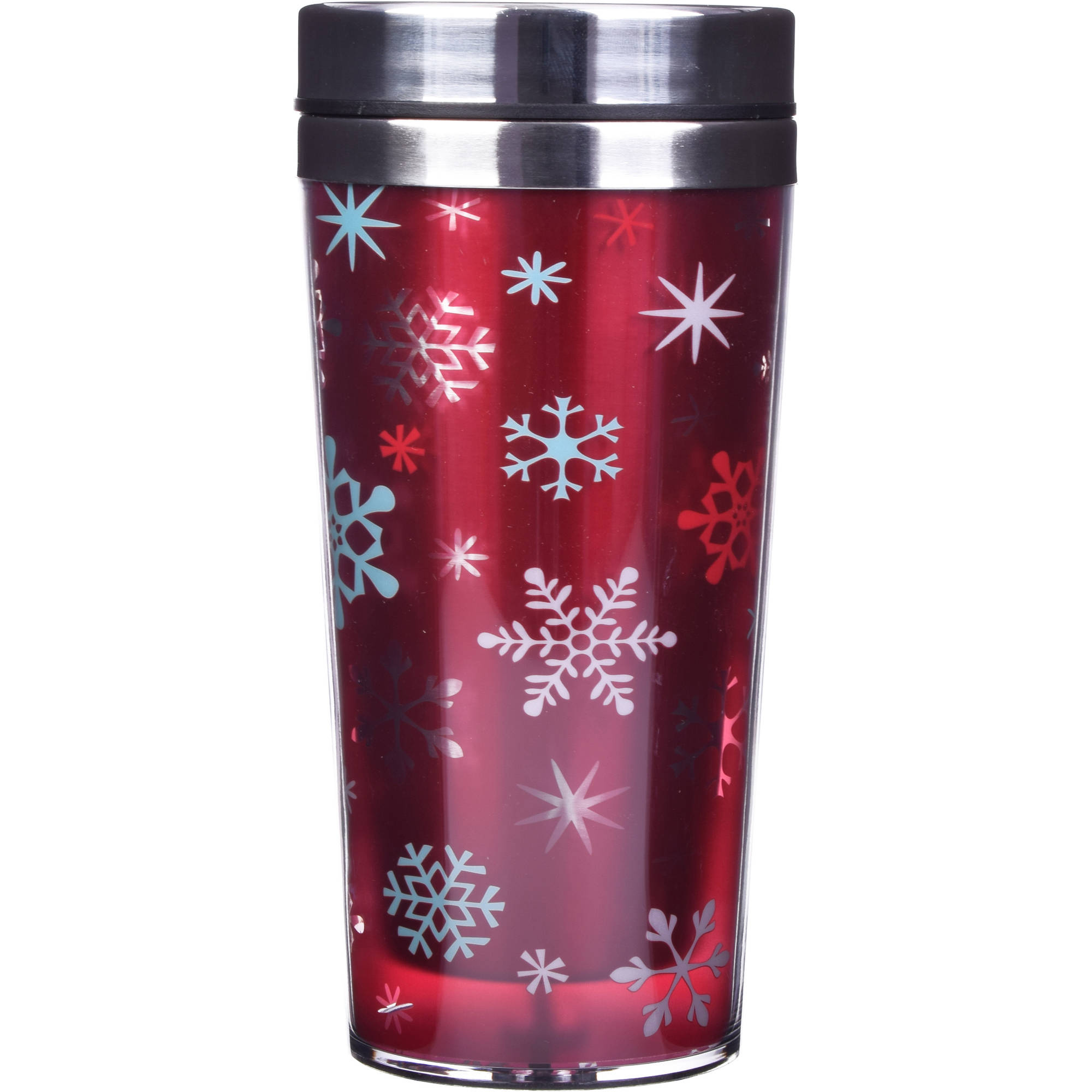 Holiday Time 14 oz Stainless Travel Tumblers, Snowflake, Set of 2