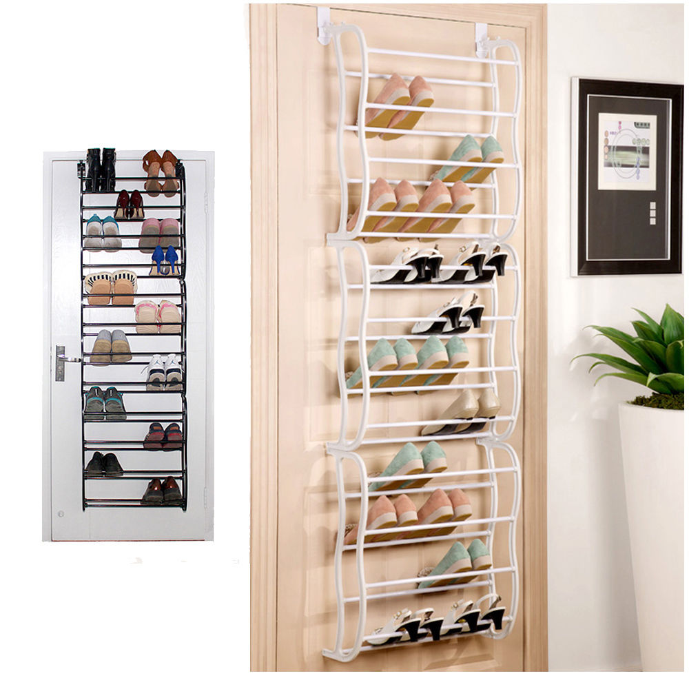 Zimtown 36Pair Over The Door 36 Pair 12 Layers Shoe Rack Metal Frame Wall