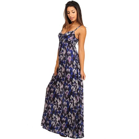 Womens Juniors Casual Printed Spaghetti Strap Maxi Dress ...