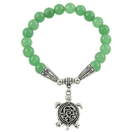 Falari Turtle Lucky Charm Natural Gemstone Bracelet ()