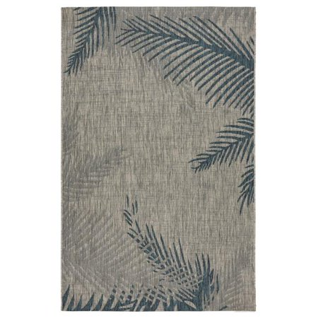LR Home CAPTI81021GBU5070 5 x 7 ft. Captiva Tropical Palms Indoor & Outdoor Area Rug, Grey & Blue - image 1 of 1