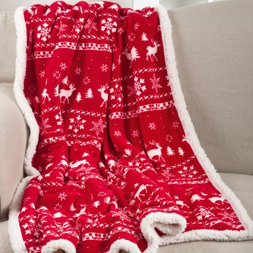 The Holiday Aisle Sevan Design Christmas Sherpa Reversible Throw
