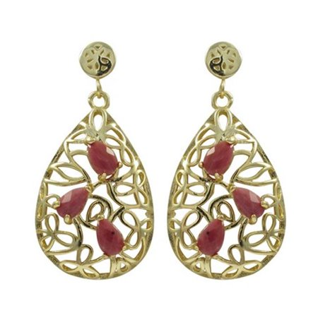 Dlux Jewels Gold Plated Sterling Silver Teardrop Post Earrings with Rhodonite Semi Precious Stones - image 1 de 1