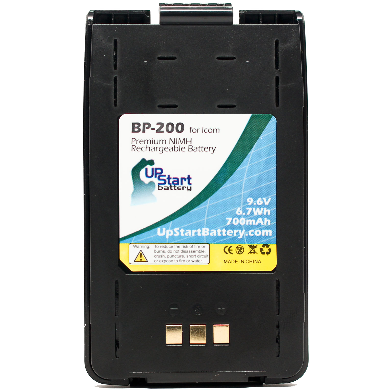 Icom BP-200 Battery with Clip - Replacement Icom BP-200 Two-Way Radio Battery (700mAh, 9.6V, NI-MH) - image 4 of 4
