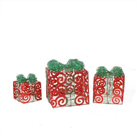 Red Christmas Decorations (Set of 3 Lighted Sparkling Red Swirl Glitter Gift Boxes Outdoor Christmas)