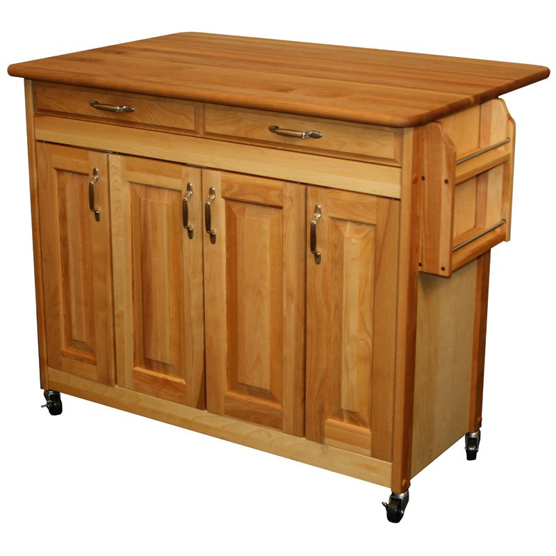 Catskill Butcher Block Island with Raised Panel Doors and Drop Leaf