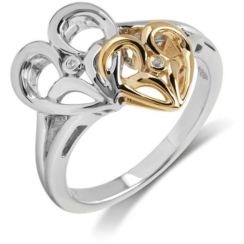 Jessica Simpson Bridal Symphony Two-tone Sterling Silver with 10k Yellow Gold 0.01CTtw Diamond Accent Heart Ring