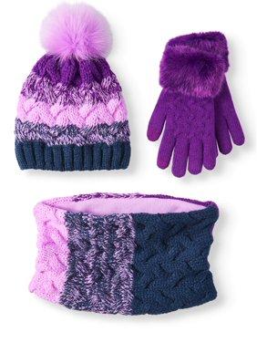 Wonder Nation Girl's Stripe Hat, Glove, Scarf 3-piece Set