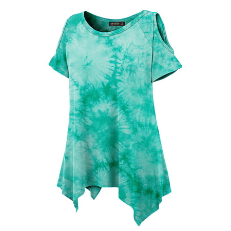MBJ WT1092 Womens Tie Dye Round Neck Short Sleve Open Shoulder Top L JADE
