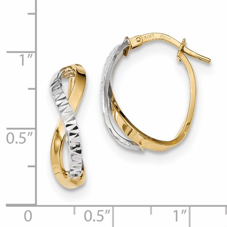 14k Yellow and White Gold Two-Tone Diamond Cut and Polished Hoop Earrings Length 21.47mm - image 1 de 2