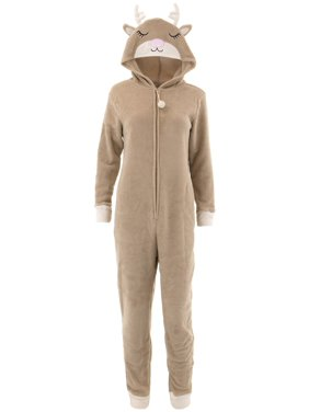 Product Image PJ Couture Women s Reindeer Hooded One-Piece Brown Pajamas 7f4f6403c