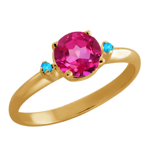 1.02 Ct Pink Mystic Topaz Swiss Blue Simulated Topaz Gold Plated 925 Silver Ring