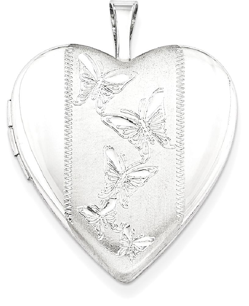 ICE CARATS 925 Sterling Silver 20mm Butterflies Heart Photo Pendant Charm Locket Chain Necklace That Holds Pictures W... by IceCarats Designer Jewelry Gift USA