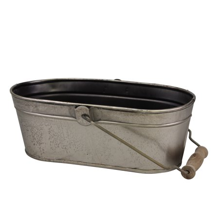 Oval Antique Silver Metal Bucket with Wooden Handle - Metal Easter Buckets