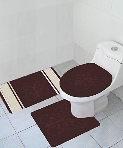 Brown 4-Pc Diamond Bath Rug Set Contour Tank /& Toilet Seat Cover Rectangle Mat