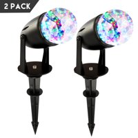 2 Pcs Waterproof Magical Spotlight Rotating Led Projector Light Night Light with Water Ripple Effects for Party Outdoor Holiday & Home, Garden, Mood Lamp for Baby Kids, Bedroom (Colorful)
