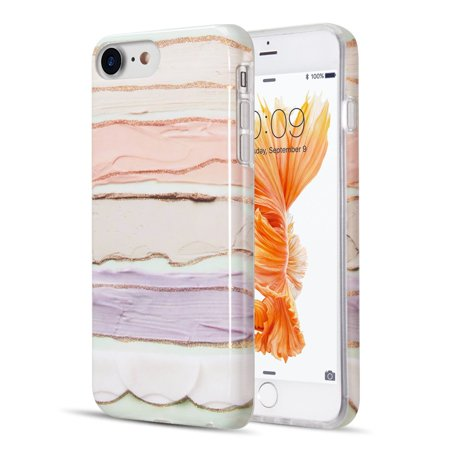 Insten The Artistry Collection With Glitter Pastel Bliss Marble TPU Rubber Candy Skin Case Cover For Apple iPhone 6/6s/7/8