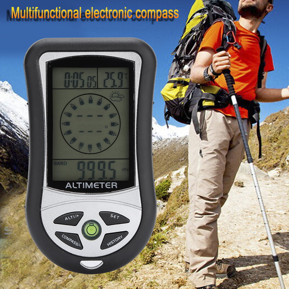 Aramox Black Multi-function Digital Altimeter Barometer Compass Weather Forecast For Outdoor Hiking by
