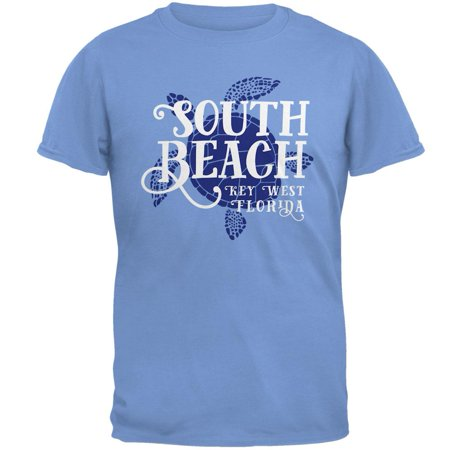 Summer Sun Sea Turtle South Beach Key West Mens T Shirt Carolina Blue LG