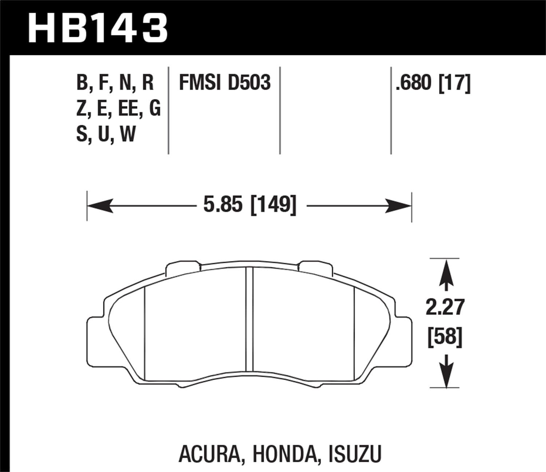 Street Front Brake Pads Hawk 97-01 Prelude HP HB143N.680