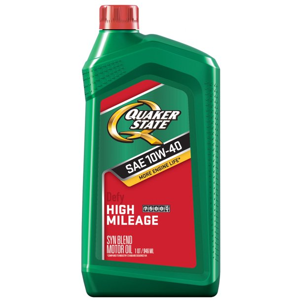 Quaker State High Mileage 10W-40 Synthetic Blend Motor Oil, 1