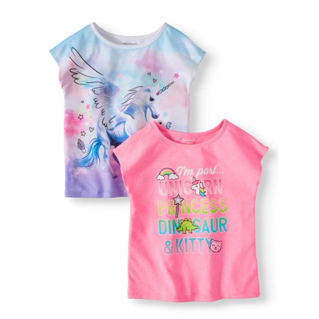 Again Toddler T-shirt - Garanimals Toddler Girls' Graphic Dolman Sleeve T-Shirts, 2-Piece Multi-Pack