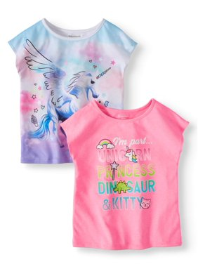 a4500b9f3feb Product Image Garanimals Toddler Girls' Graphic Dolman Sleeve T-Shirts,  2-Piece Multi-