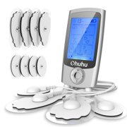 FDA Cleared Muscle Pain Tens Unit, Ohuhu Rechargeable 16 Modes and 12 Pads Muscle Stimulator, EMS Therapy Electric Massager for Back Shoulder Elbow Pain Relief for Fathers' Day Gifts
