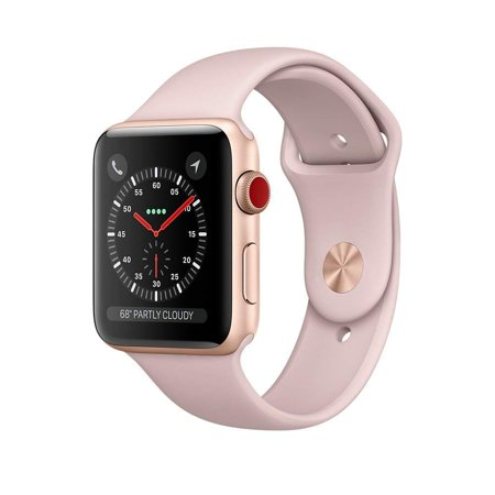 Agent Series Team Watch - Apple Watch Series 3 42mm Smartwatch (GPS + Cellular, Rose Gold Aluminum Case, Pink Sand Sport Band) (Refurbished)