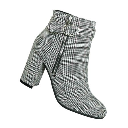 Millie07 by Wild Diva, Tweed Covered Block Heel Booties - Womens Double Hook Belt Ankle Boot - Boot Hooks