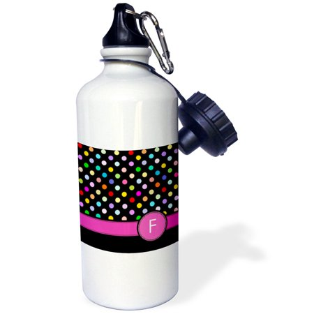 3dRose Letter F monogrammed on rainbow polka dots pattern with hot pink personal initial - girly colorful, Sports Water Bottle, - Rainbow Polka Dots