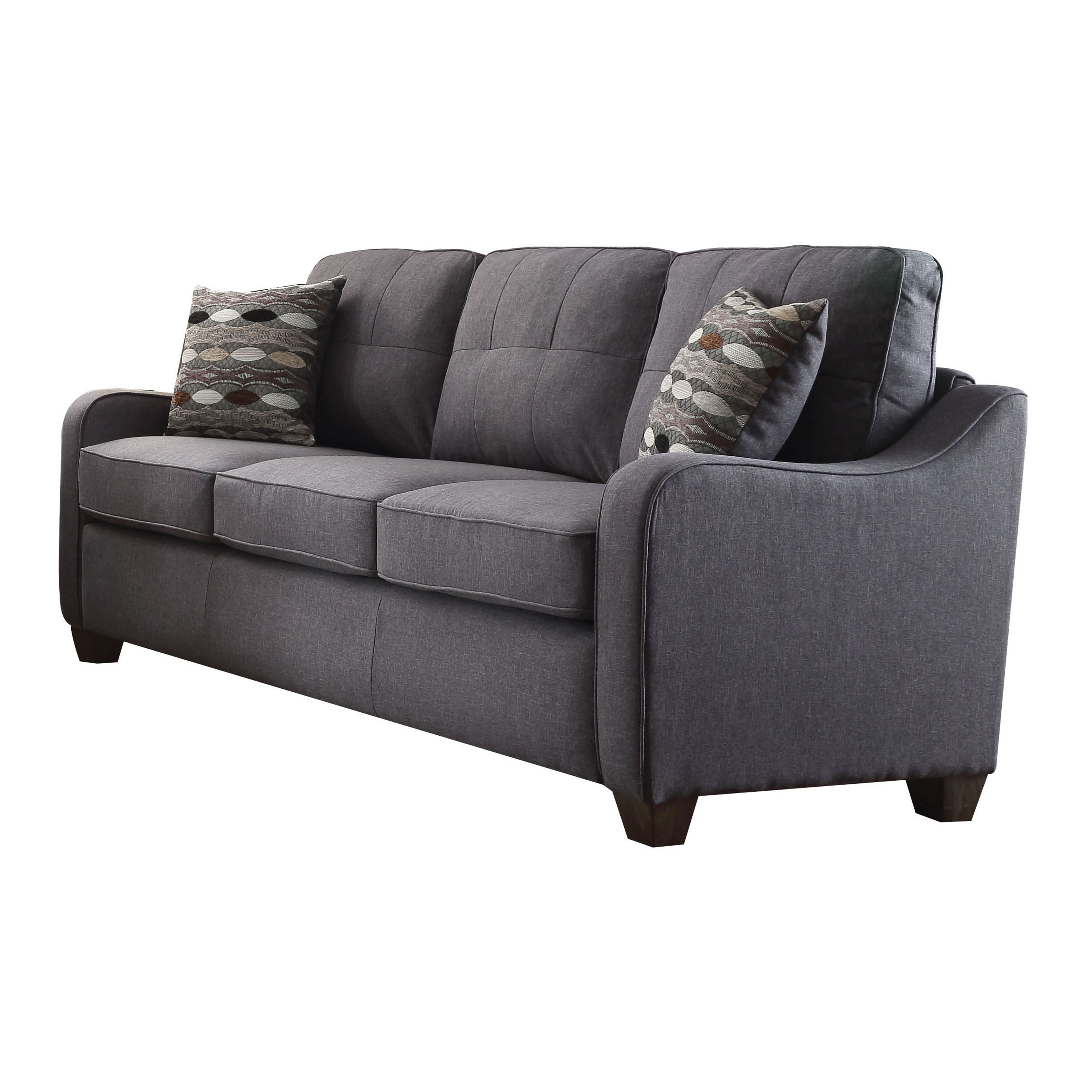 ACME Cleavon II Sofa with 2 Pillows in Gray Linen Upholstery by Acme Furniture