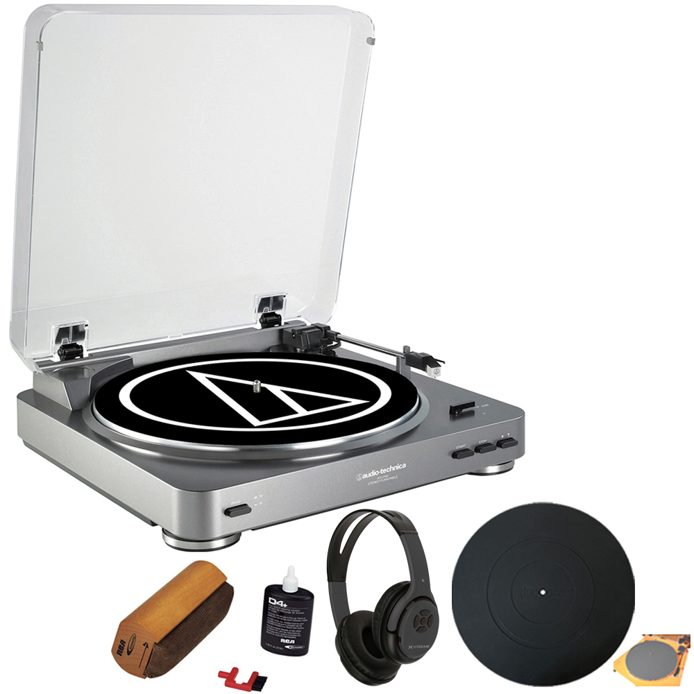 Audio-Technica AT-LP60 Turntable + Bluetooth Bundle with Wireless Headphones + Silicone Rubber Universal Turntable Platter Mat
