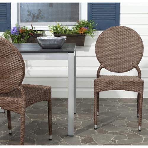 Safavieh Valdez Brown Indoor Outdoor Stackable Side Chair (Set of 2)