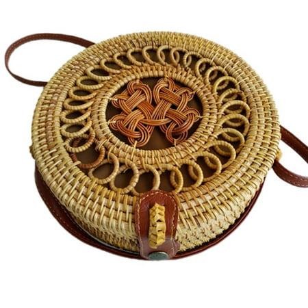 Fashion Women Handmade Round Rattan Bags Woven Straw Bag Bamboo Shoulder bag Summer Beach](Woven Beach Bag)