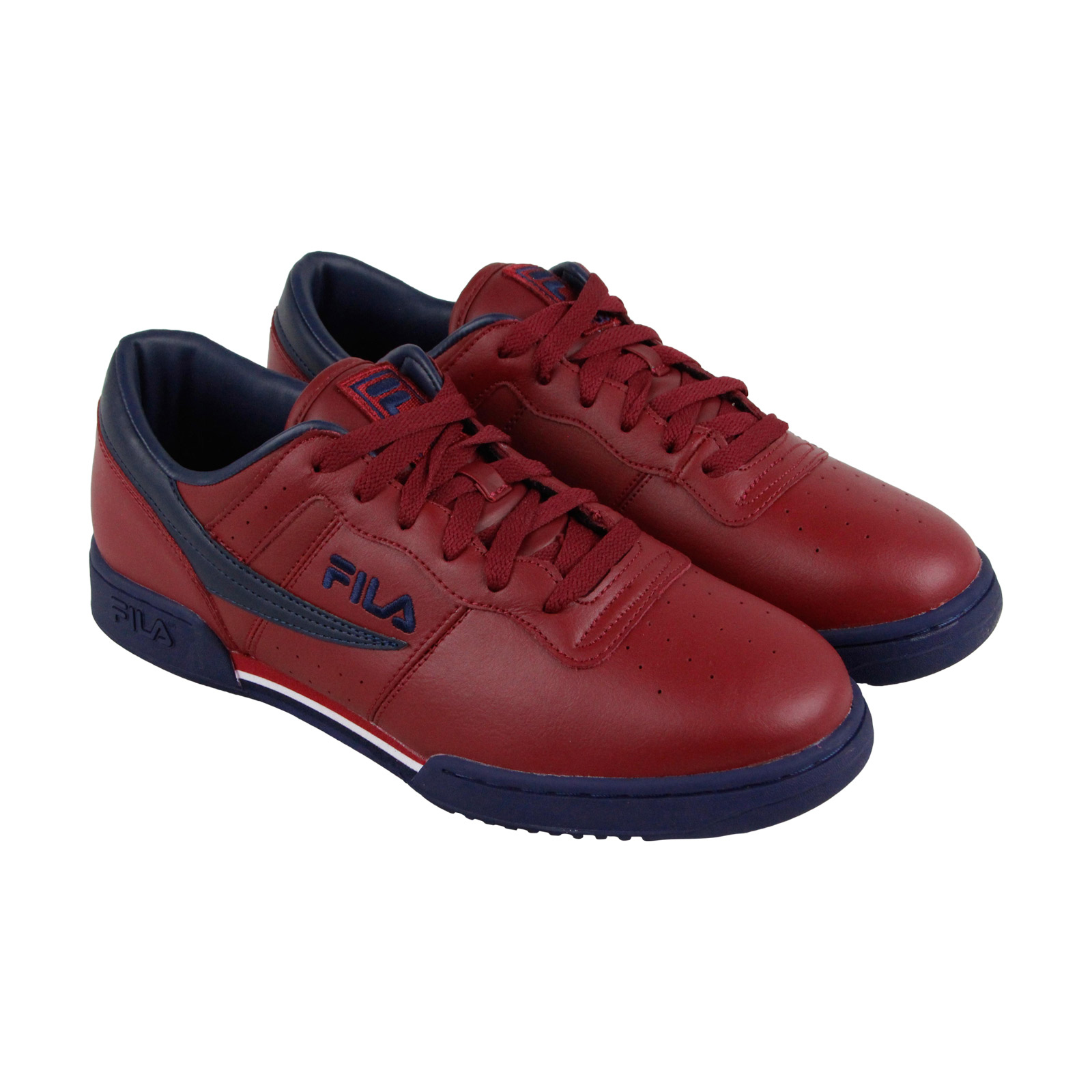 Fila Original Fitness Mens Red Leather Lace Up Sneakers Shoes by Fila
