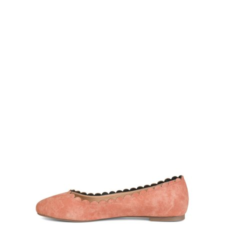 Comfort by Brinley Co. Womens Round Toe Scalloped Flat