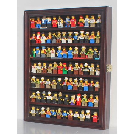 Mahogany Wood Finish Cabinet - Lego Minifigures Display Case Wall Thimble Cabinet Shadow Box, solid wood (Mahogany Finish)