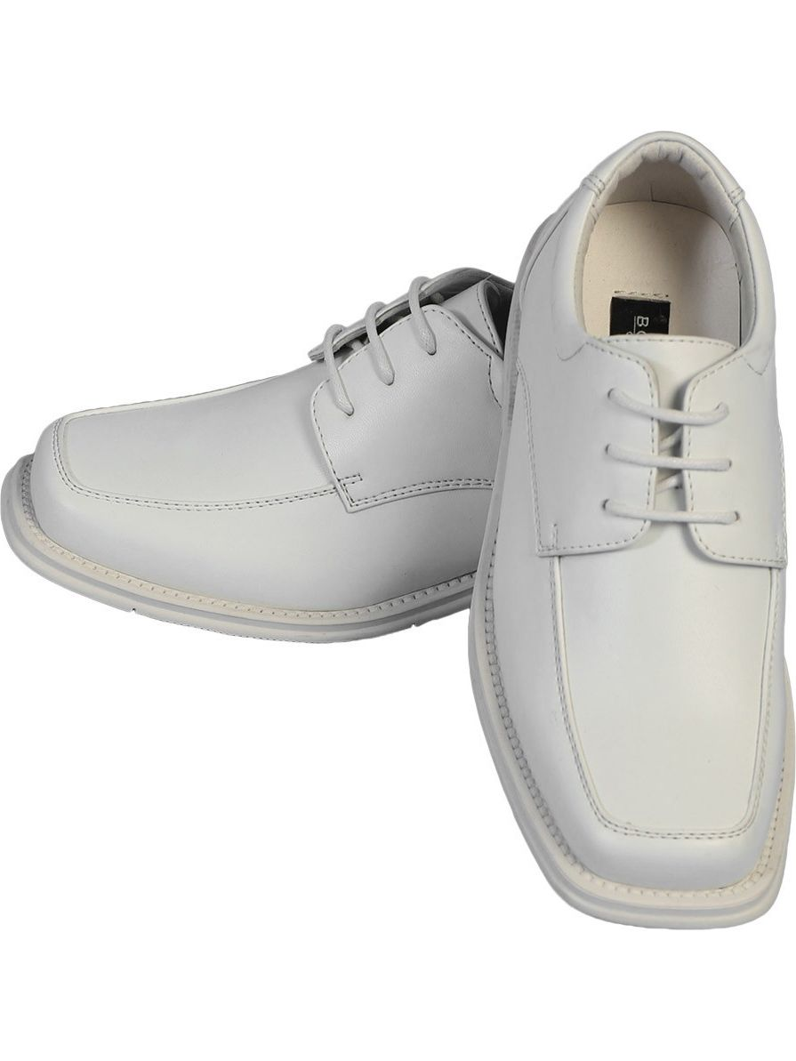 Angels Garment Boys White Lace Up Closure Classic Dress Shoes