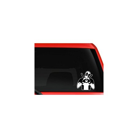 yourchoicedecals deadpool making heart sign on car truck suv laptop mac toolbox wall window decal sticker 6 inches white