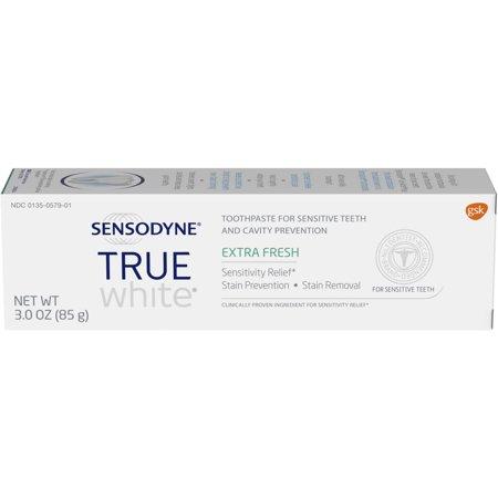 - Sensodyne Sensitive Teeth Whitening, True White Extra Fresh, Sensitivity Toothpaste, 3 ounce