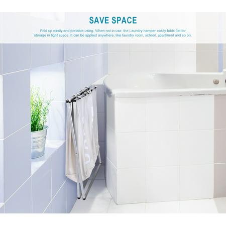 3 Section Foldable Laundry Hamper Laundry Basket, Oxford Metal X-Frame Laundry Washing Sorter, Large 90L Capacity Clothes Storage - image 2 of 7