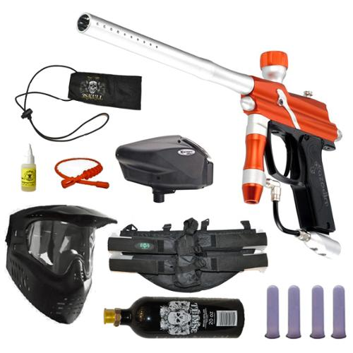 Azodin Blitz Paintball Marker Gun 3Skull 4+1 Halo Too Mega Set Orange Silver by