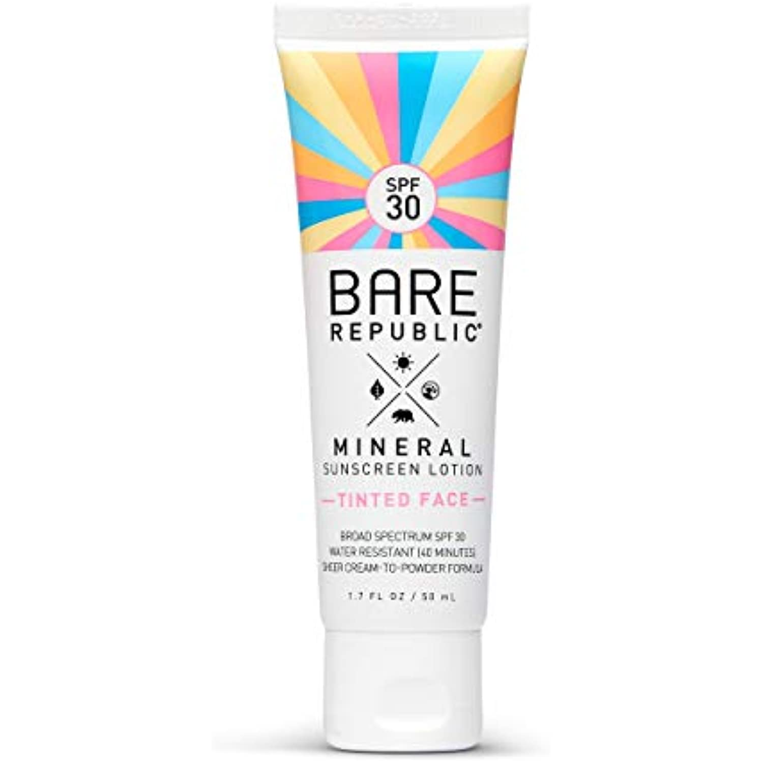 Bare Republic Sport Mineral Sunscreen & Sunblock Tinted Face Lotion with  Zinc Oxide, SPF 20, 20.20 fl oz
