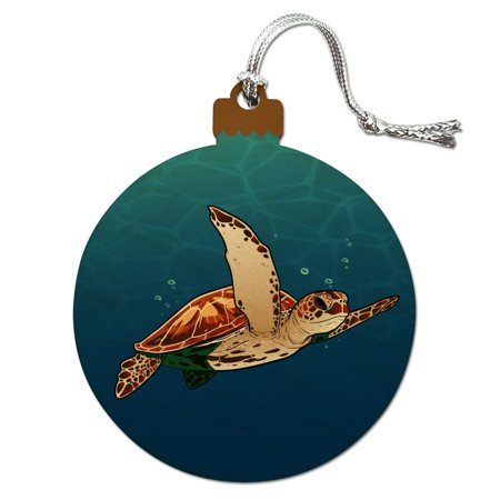 Sea Turtle Swimming in Ocean Wood Christmas Tree Holiday Ornament