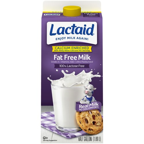 Lactaid 100% Lactose Free Fat Free Calcium Fortified Milk, .5 gal